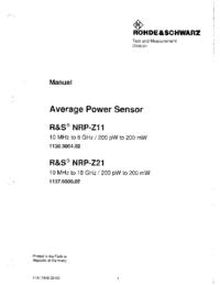 Manual del usuario RohdeUndSchwarz NRP-Z11 1138.3004.02