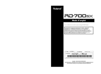 User Manual Roland RD-700SX