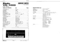 Руководство по техническому обслуживанию Roland Rhodes VK-1000