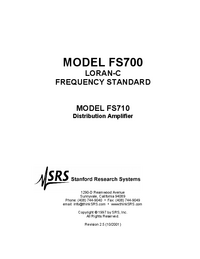 Servicio y Manual del usuario SRS FS700