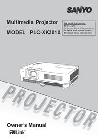 User Manual Sanyo PLC-XK3010
