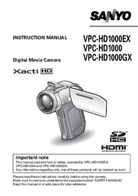 User Manual Sanyo VPC-HD1000