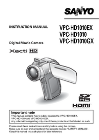 User Manual Sanyo VPC-HD1010