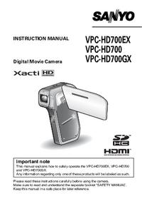 Gebruikershandleiding Sanyo VPC-HD700