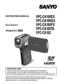 User Manual Sanyo VPC-CA102