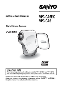 User Manual Sanyo VPC-CA6EX