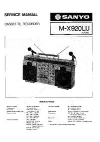 Servicehandboek Sanyo M-X920LU