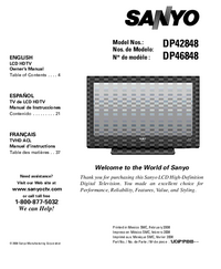 User Manual Sanyo DP42848