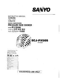 Руководство пользователя Sanyo ECJ-PX50S