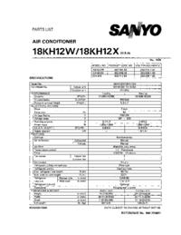 Lista de parte Sanyo 18KH12W