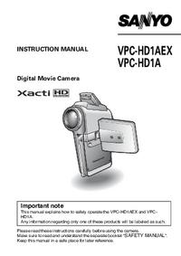 Manuel de l'utilisateur Sanyo VPC-HD1AEX
