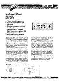 Fiche technique Schaffner NSG 1025
