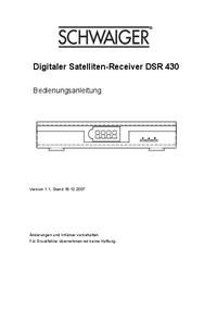Руководство пользователя Schwaiger DSR 430