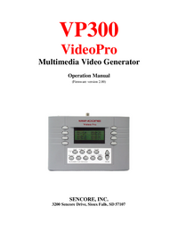 User Manual Sencore VP300