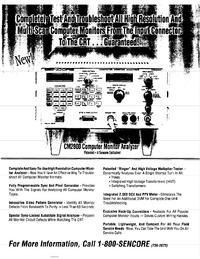Scheda tecnica Sencore CM2000