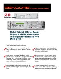 Dane techniczne Sencore S310