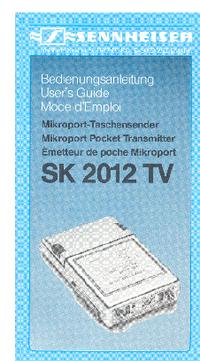 Bedienungsanleitung Sennheiser SK 2012 TV
