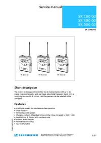 Servicehandboek Sennheiser SK 100 G2