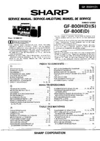 Руководство по техническому обслуживанию Sharp GF-800H