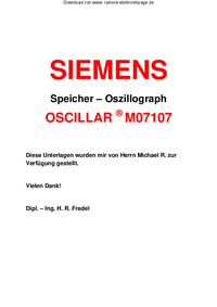 Serwis i User Manual Siemens OSCILLAR M07107