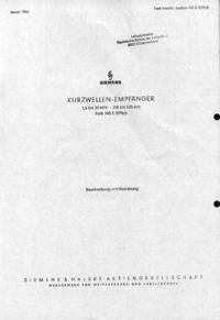 Service- und Bedienungsanleitung Siemens Funk 745 E 309