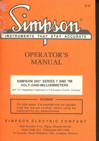 Servicio y Manual del usuario Simpson 260 Series 7M