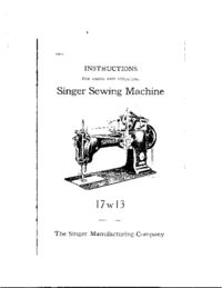 User Manual Singer 17w13