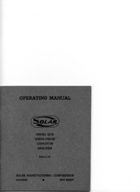Service and User Manual Solar QCA