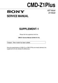 Dodatek Instrukcja Serwisowa Sony CMD-Z1Plus