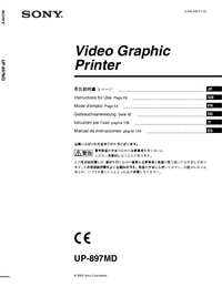 User Manual Sony UP-897MD