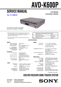 Manual de servicio Sony AVD-K600P