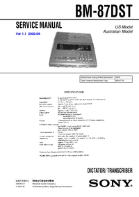 Service Manual Sony BM-87DST