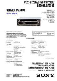 Manual de servicio Sony CDX-GT20W