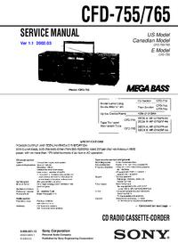 Руководство по техническому обслуживанию Sony CFD-765