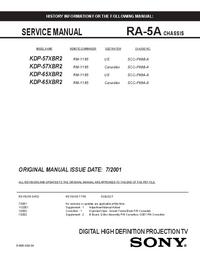 Servicehandboek Sony KDP-65XBR2