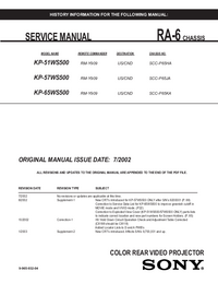 Service Manual Sony KP-65WS500