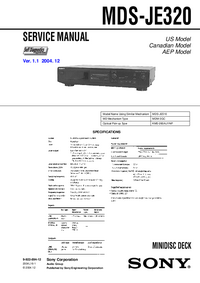 Service Manual Sony MDS-JE320