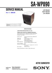 Руководство по техническому обслуживанию Sony SA-WP890