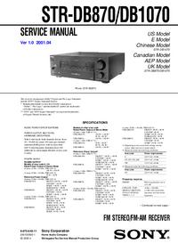 Manuale di servizio Sony STR-DB1070