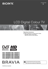 User Manual Sony KDL-26S2020