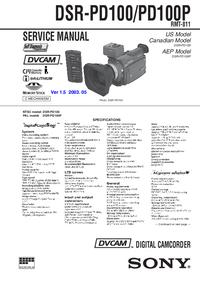 Руководство по техническому обслуживанию Sony DSR-PD100