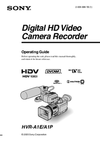 User Manual Sony HVR-A1E