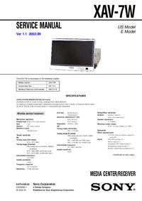 Manuale di servizio Sony XAV-7W