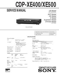 Руководство по техническому обслуживанию Sony CDP-XE400