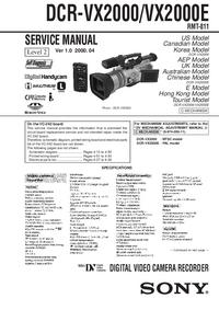 Руководство по техническому обслуживанию Sony DCR-VX2000