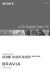 User Manual Sony KDL-40V4100