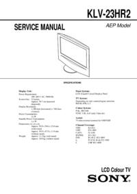 Service Manual Sony KLV-23HR2