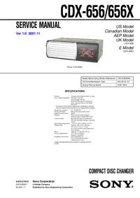 Руководство по техническому обслуживанию Sony CDX-656