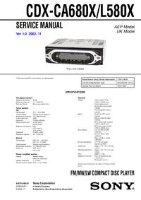 Instrukcja serwisowa Sony CDX-CA680X