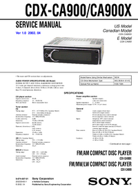 Service Manual Sony CDX-CA900X